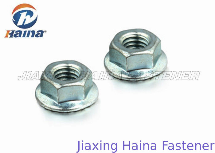 Hexagon Serrated Flange Lock Nut Yellow Zinc Plated For Pipeline Connection