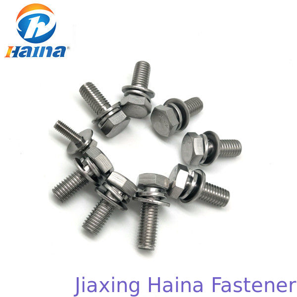 Hex Head Sem Combine Stainless Steel Bolts , Half Thread Bolt With Flat Washer